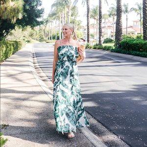 Chelsea28 Palm Print Maxi Dress with Tie Belt